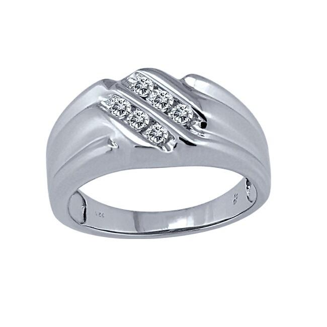 Sterling Silver Men's 1/6ct TDW Diamond Ring (I-J, I2-I3)