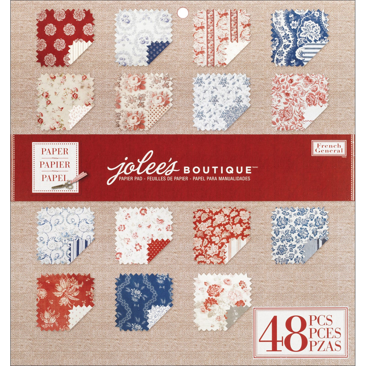 """French General Double-Sided Textured Paper Pad 12""""X12""""-Red 48 Sheets"""
