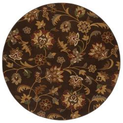 Concord Brown Floral Rug (8' Round)