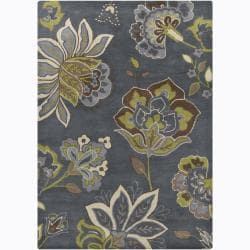 Hand-tufted Mandara Grey Floral Wool Rug (5' x 7')
