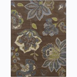 Hand-tufted Mandara Brown Floral Wool Rug (5' x 7')