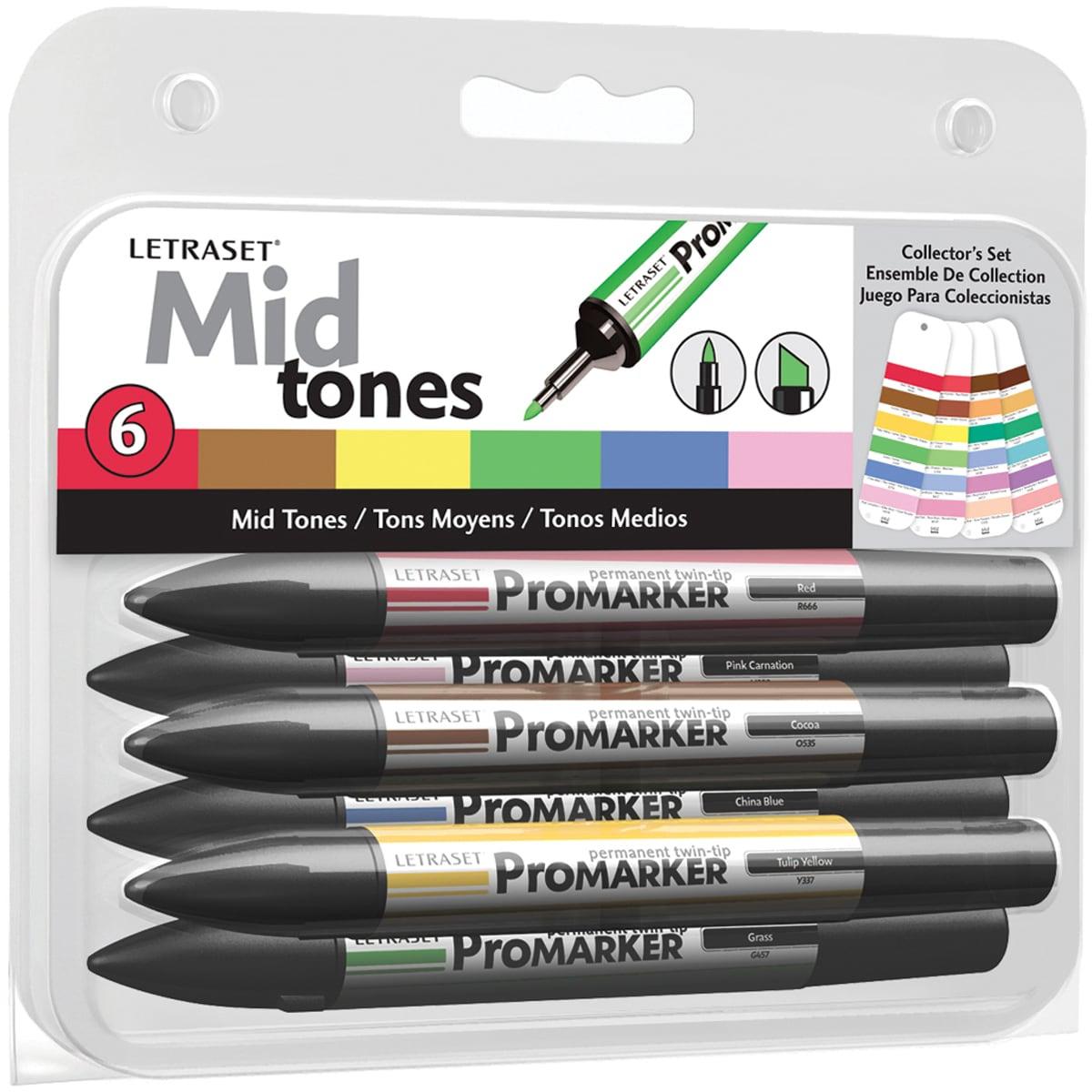 Letraset ProMarker Collector's Set 6/Pkg-Mid Tones