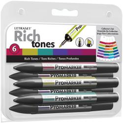 Letraset ProMarker Collector's Set 6/Pkg-Rich Tones