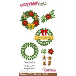 "CottageCutz Die 4""X8"" With Cottage Impressions Clear Stamps-Boxwood Vine Wreath"