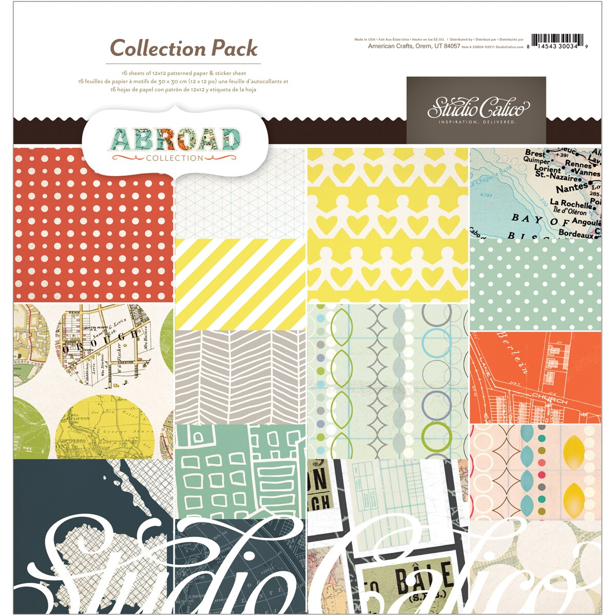 """Abroad Collection Pack 12""""X12""""-16 Double-Sided Papers + Sticker Sheet"""
