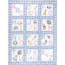 "Stamped White Nursery Quilt Blocks 9""X9"" 12/Pkg-ABC"