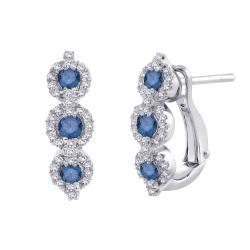 10K White Gold 1/2 TDW Blue & White Diamond Leverback Earring (G-H, I2-I3)