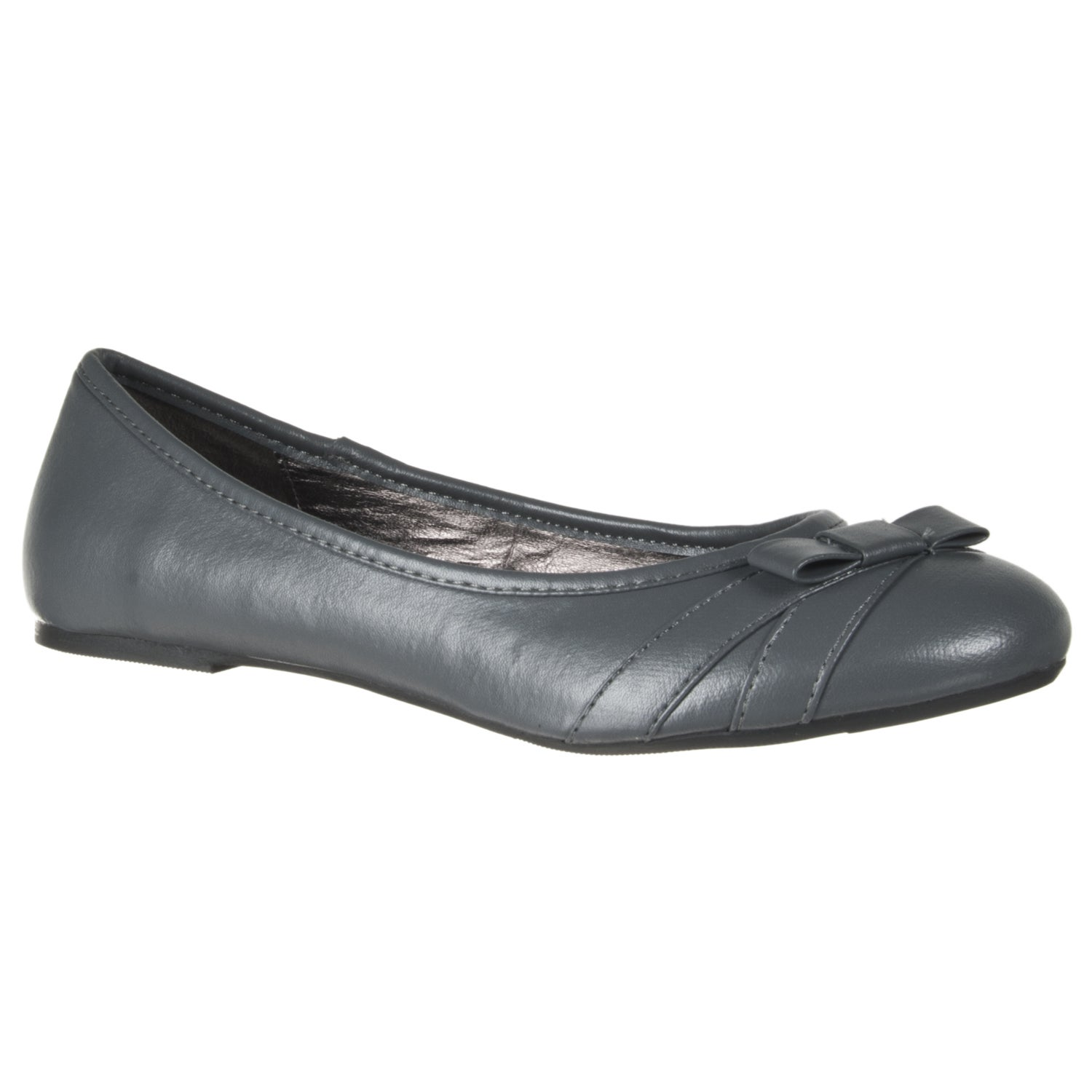 Riverberry Women's Grey Faux Leather Bowed Flats
