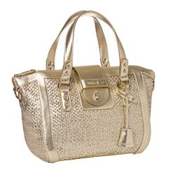 Jimmy Choo Small Gold Woven Leather Tote Bag