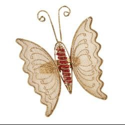 Saro Butterfly Design Beaded Metal Napkin Rings (Set of 4)