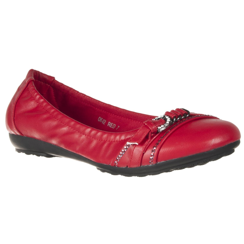 Riverberry Women's 'OK' Red Buckle Sequin Flats
