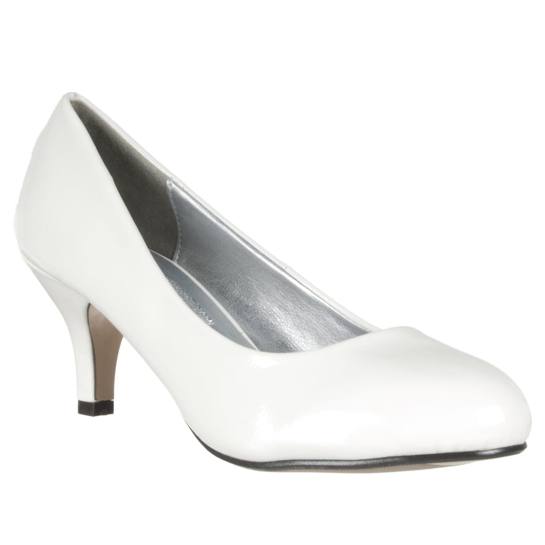 Riverberry Women's White Patent Mid-Heel Pumps