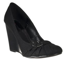 Riverberry Women's 'Dexter' Black Microsuede Wedges