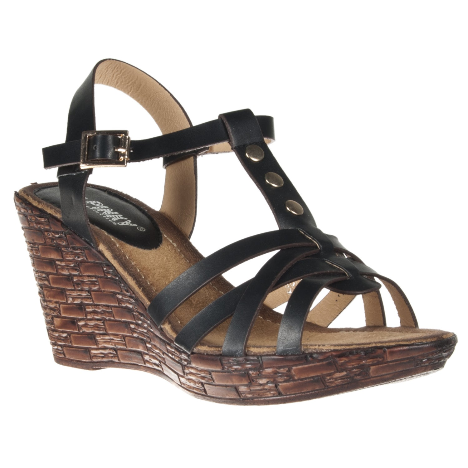 Riverberry Women's 'Brody' Black Wedge T-strap Sandals