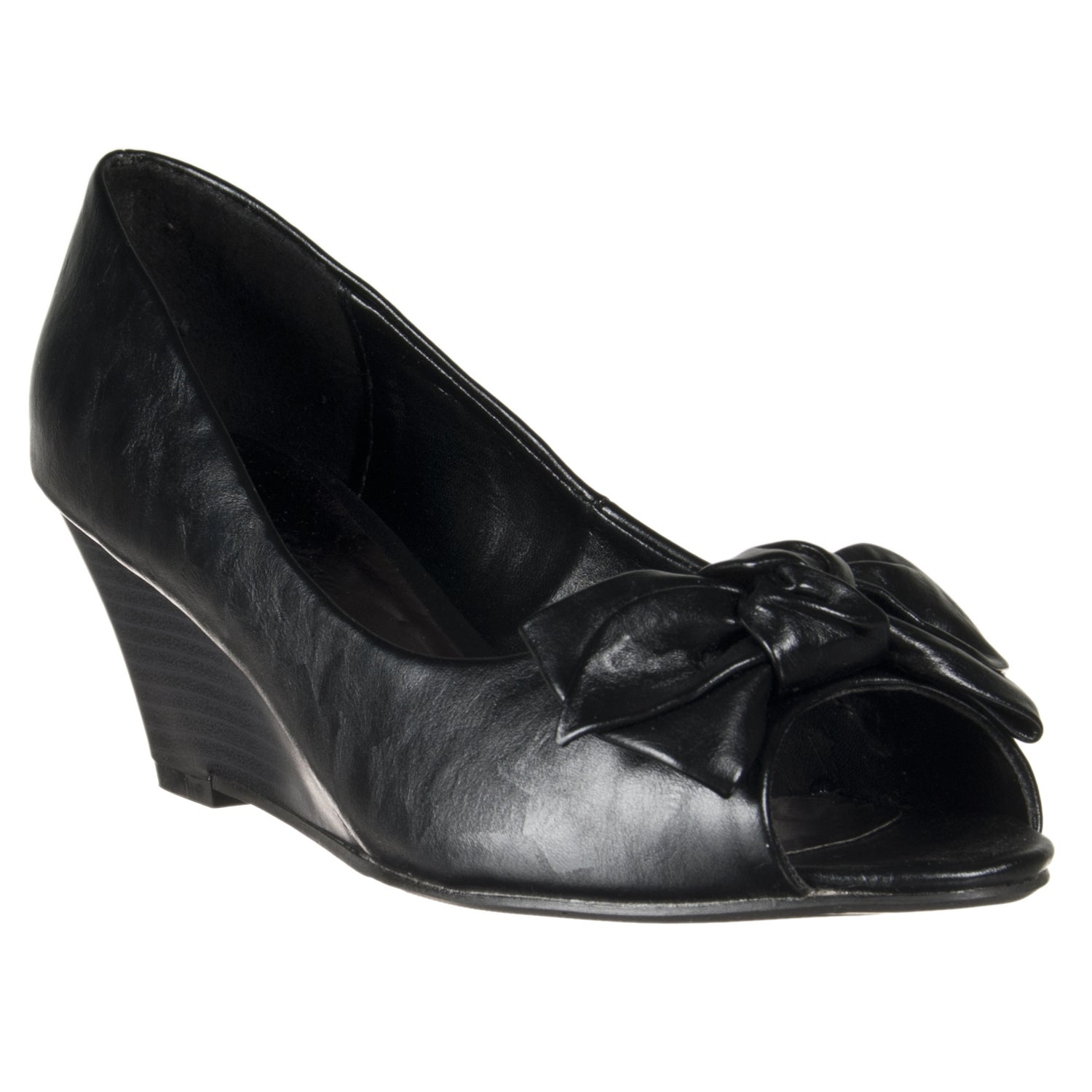 Riverberry Women's 'Network' Black Knot-bow Peep Toes