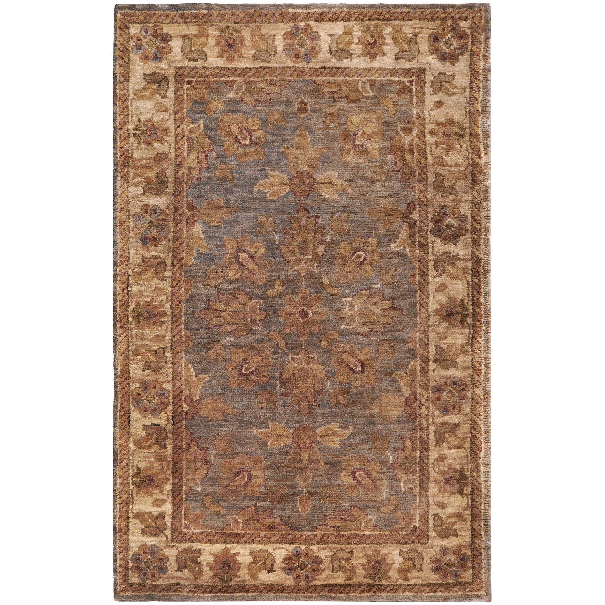 Hand-woven Multicolored Sauk Traditional Border Hemp Rug (2' x 3')