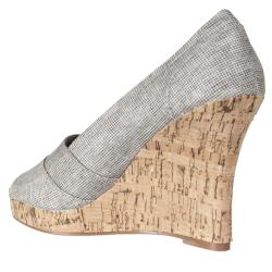 Riverberry Women's 'Alina' Grey Canvas Peep Toe Wedges