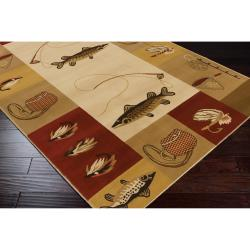 Dick Idol Meticulously Woven Tan/Red Southwestern Lodge Bristol Rug (2' x 3')