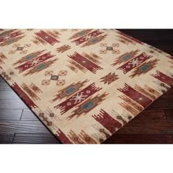 Dick Idol Hand-tufted Red/Ivory Southwestern Aztec Haines Wool Rug (2' x 3')