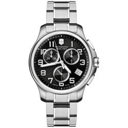 Victorinox Swiss Army Men's Officer's Chrono Black Subdial Stainless Bracelet Watch
