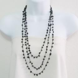 Handmade Black Onyx Cotton Rope Layered Necklace (Thailand)