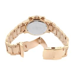 Women's 'Marina' Chrono White Textured Dial Rose Goldtone Watch
