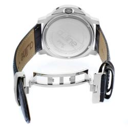 Women's 'Pyar' Silver Textured Dial Navy Leather Watch
