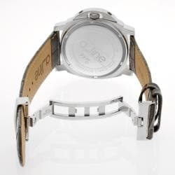 Women's 'Pyar' Silver Textured Dial Grey Leather Watch