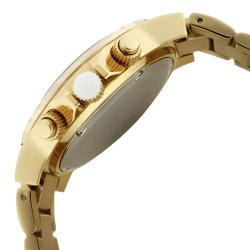 Women's 'Marina' Chronograph White Textured Dial Goldtone Watch