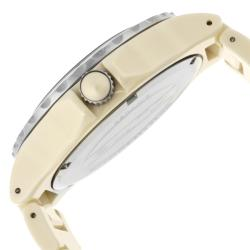 Women's 'Marina' Beige Textured Dial Beige Ceramic Watch