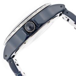 Women's 'Marina' Silver Textured Dial Blue Ceramic Watch