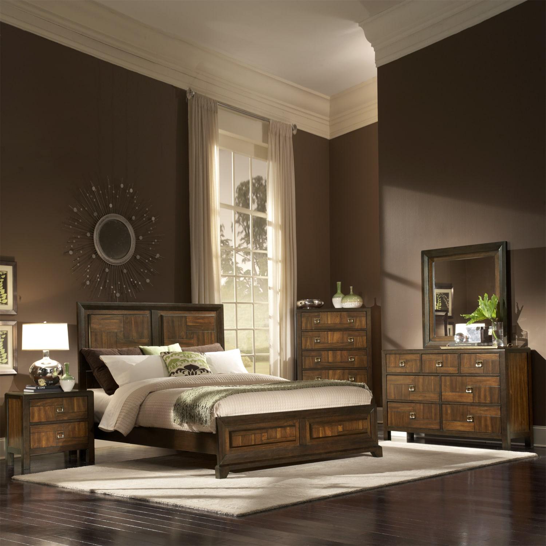 birken asymmetric walnut retro 5 piece queen size bedroom set