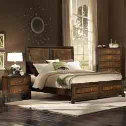 Birken Asymmetric Walnut Retro 5-piece Queen-size Bedroom Set