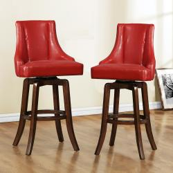 Vella Warm Red Swivel Upholstered 29-inch Barstool (Set of 2)