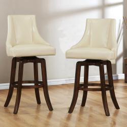 Vella Cream White Swivel Upholstered 29-inch Barstool (Set of 2)