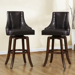 Vella Dark Brown Swivel Upholstered 29-inch Barstool (Set of 2)