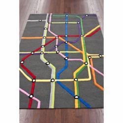 nuLOOM Handmade Kids' Subway Map Wool Rug (5' x 7')