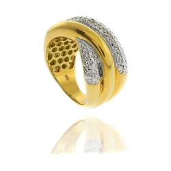 18k Gold Overlay Diamond Accent Criss Cross Ring
