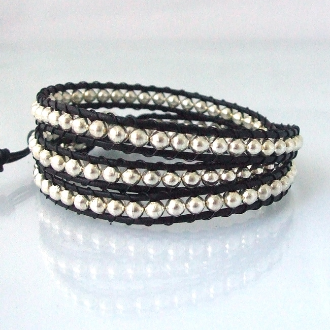 Overstock.com Sublime Metallic Round Silver Beads Triple Wrap Black Leather Bracelet (Thailand) at Sears.com