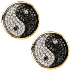 10k Yellow Gold White and Black 2/3ct TDW Diamond Yin Yang Earrings