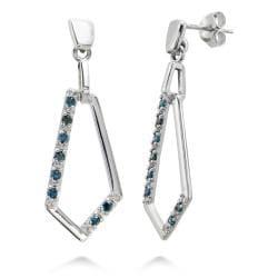 Sterling Silver 1/4ct TDW Blue Diamond Dangle Earrings
