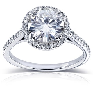 14k White Gold Round Moissanite and 1/4ct TDW Diamond Engagement Ring (G-H, I1-I2)