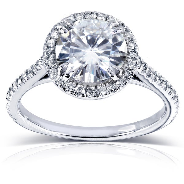 Annello 14k White Gold Round Moissanite and 1 4ct TDW Diamond Engagement Ring