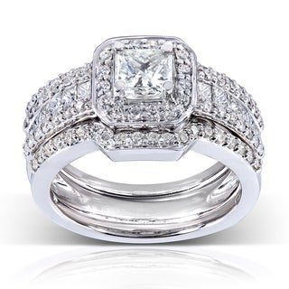 Annello 14k Gold 1 3/5ct TDW Diamond 3-piece Bridal Ring Set (H-I, I1-I2)