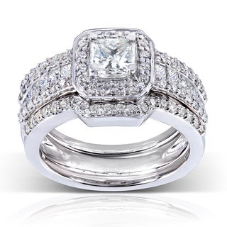 Annello 14k Gold 1 3/5ct TDW Diamond 3-piece Bridal Ring Set (H-I, I1-I2)