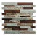 SomerTile 11.5x11.75-inch Woodland Birch Glass Mosaic Tile (Pack of 10)