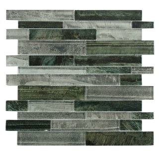 SomerTile 11.5x11.75-inch Woodland Evergreen Glass Mosaic Tile (Pack of 10)