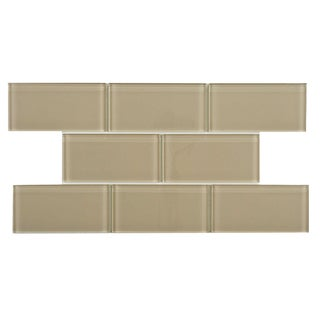 SomerTile 3x6-inch Reflections Sandstone Glass Mosaic Tile (Case of 64)