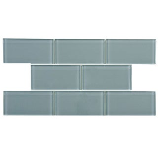 SomerTile 3-Inch x 6-Inch Reflections Blue Smoke Glass Mosaic Tile (Case of 64)