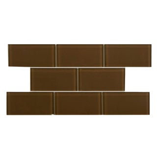 SomerTile 3x6-inch Reflections Earth Glass Mosaic Tile (Case of 64)